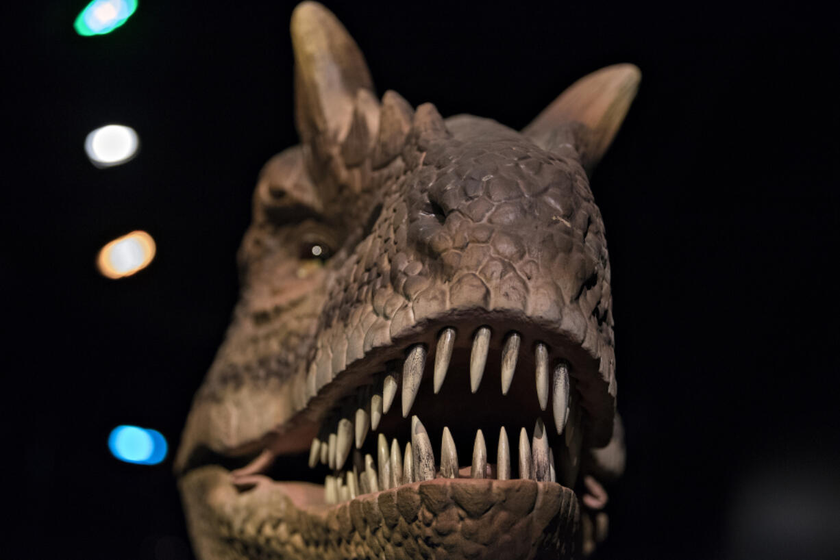 """Now open: the terrifying jaws of an animatronic Allosaurus, and the  """"Dinosaurs Revealed"""" exhibit at the Oregon Museum of Science and Industry."""