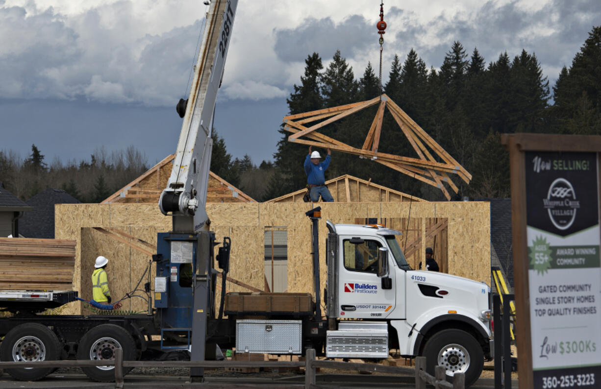 Construction of new homes at Whipple Creek Village in Ridgefield. Clark County has been gripped by a severe housing inventory shortage in recent months, and local real estate agents say it's constraining sales activity.
