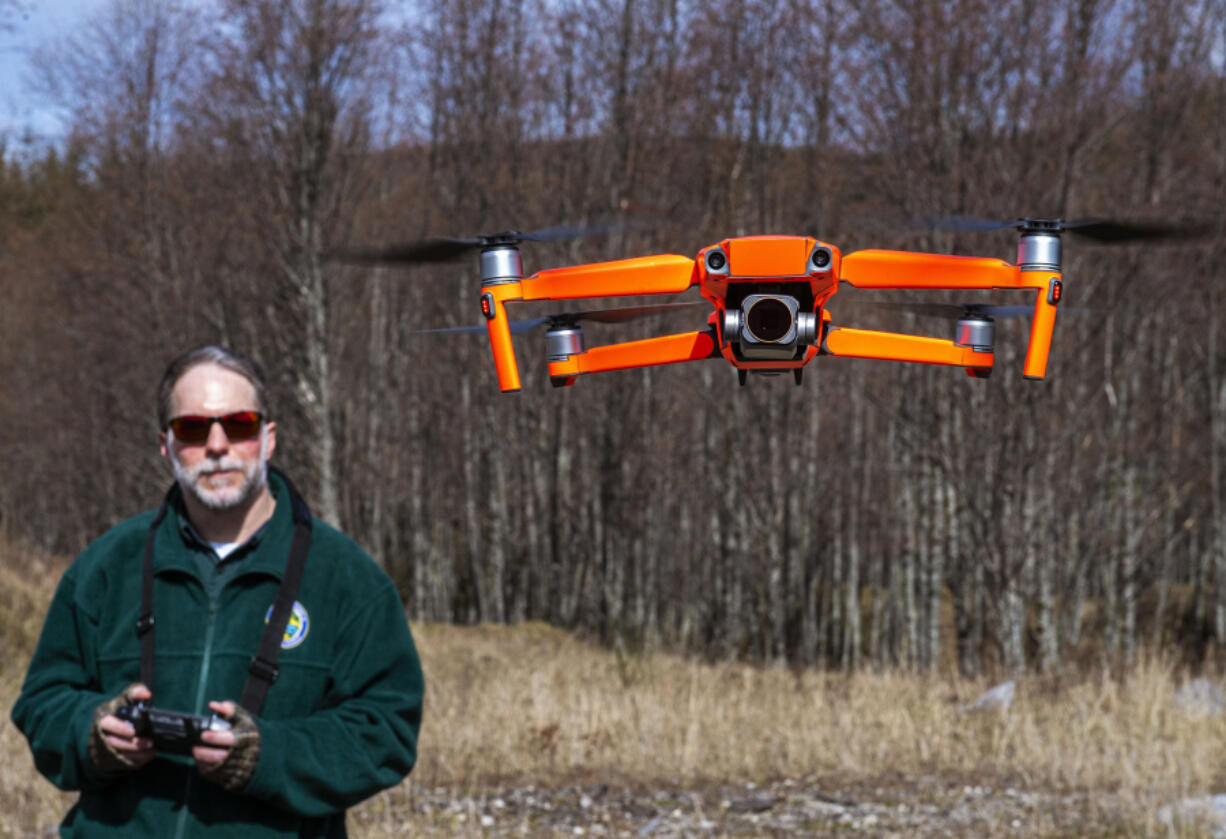 Washington Department of Fish and Wildlife habitat biologist George Fornes flies a drone near the North Fork of the Toutle River to survey potential locations for a new fish release site on Wednesday.