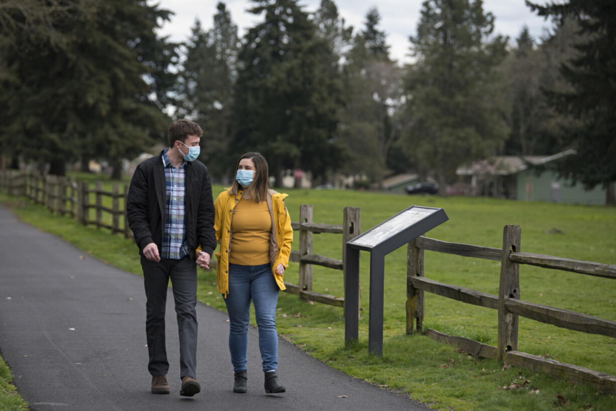 Chris Cour and Ilana Brown began dating during the pandemic. They took lots of walks together, sometimes at Fort Vancouver Historic Site, pictured here, because activities were closed due to COVID-19 concerns.