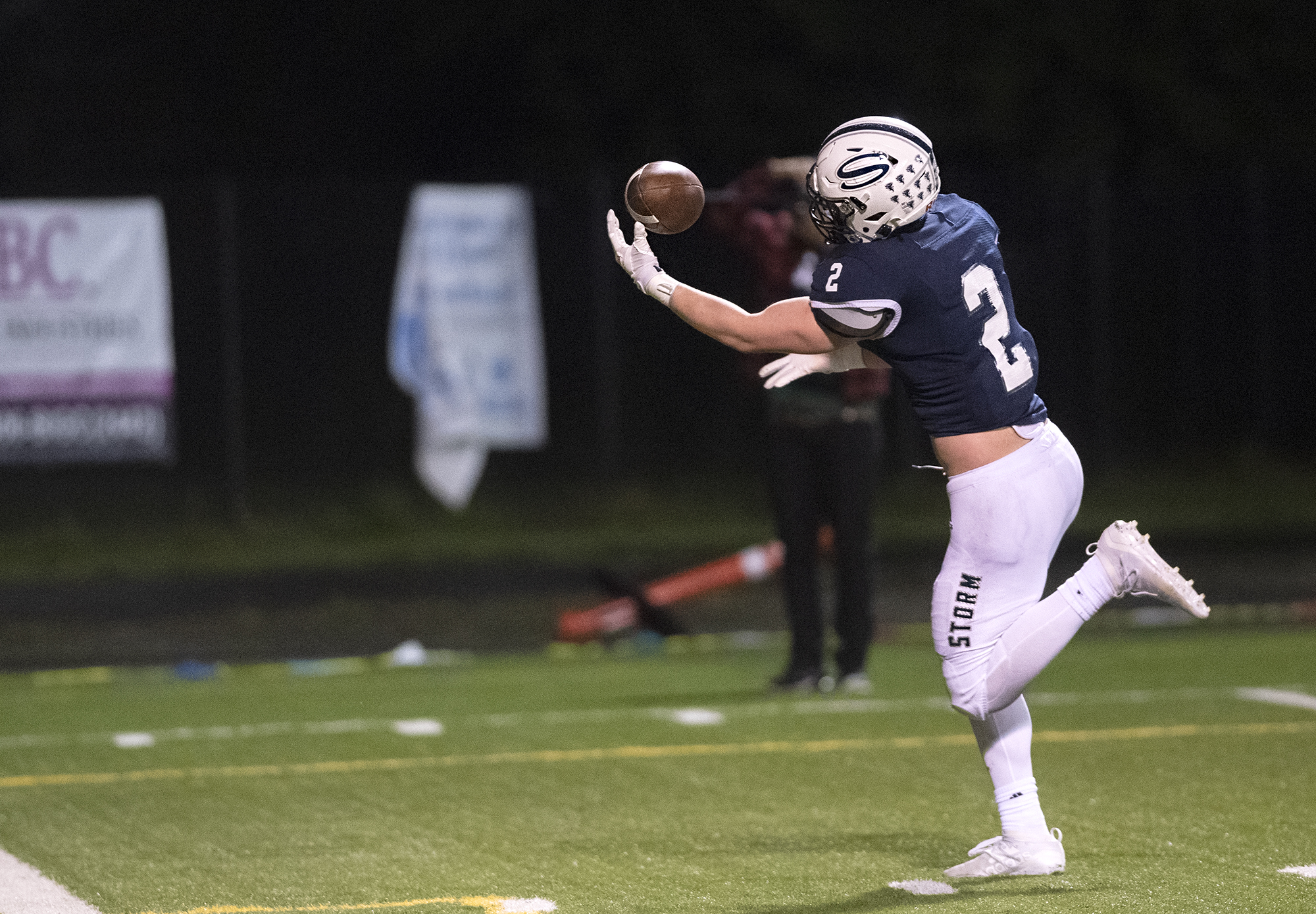 Skyview's Rhett Sarvela hauls in a 30-yard touchdown pass one-handed in a 4A/3A Greater St. Helens League game on Thursday, March 18, 2021, at Kiggins Bowl. Skyview won 49-7.