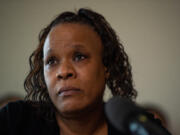 Tammi Bell answers questions about the killing of her son, Kevin Peterson, Jr., by police in Clark County, during a press conference at the Aero Club Banquet Room in Vancouver on Thursday morning, March 18, 2021.