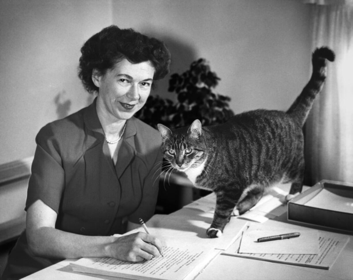 Beverly Cleary in 1955 with her cat Kitty.