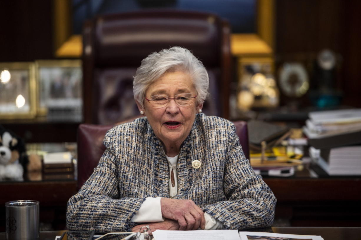 Alabama Gov. Kay Ivey holds a sit down interview with reporters in the Governor's office at the Alabama State Capitol Building in Montgomery, Ala., on Wednesday, Feb. 3, 2021.