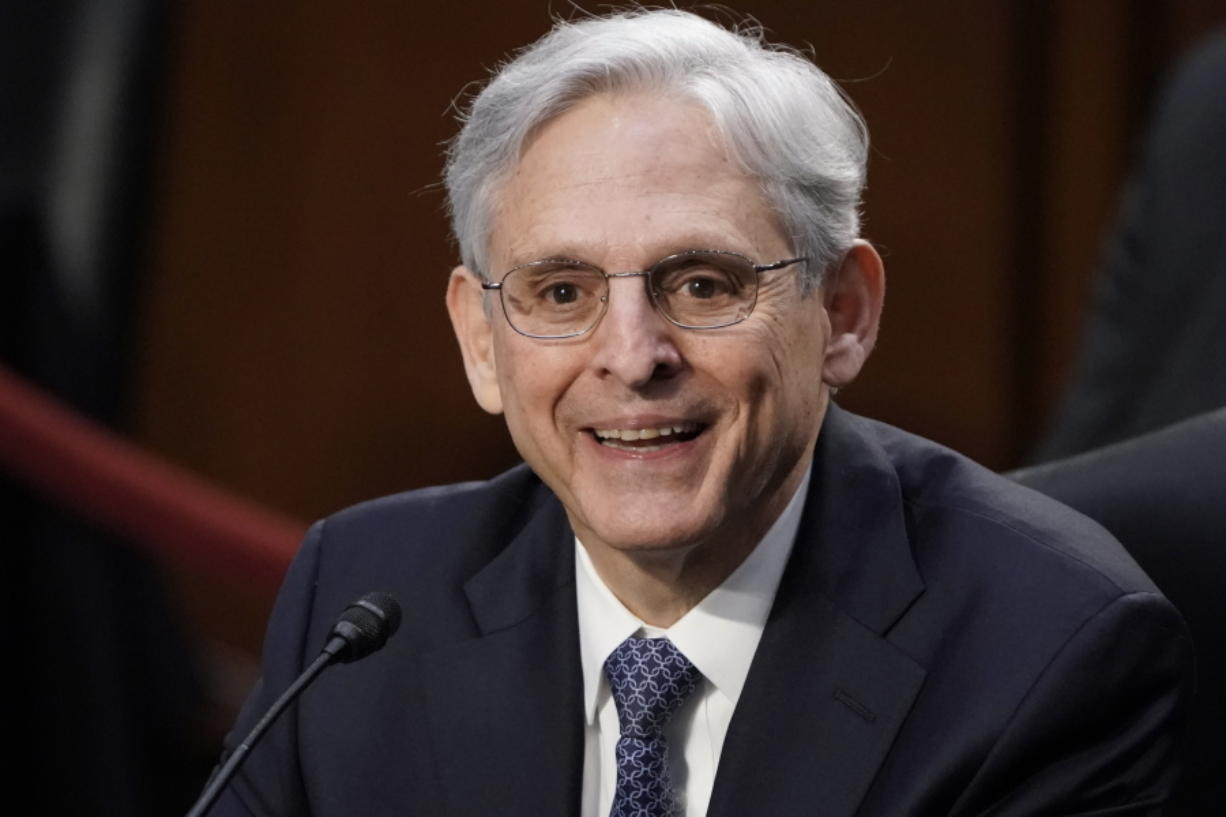 Judge Merrick Garland, nominee to be Attorney General, is sworn in at his confirmation hearing before the Senate Judiciary Committee, Monday, Feb. 22, 2021 on Capitol Hill in Washington.