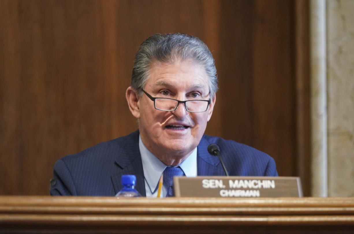 Sen. Joe Manchin, D-W.Va., speaks during a Senate Committee on Energy and Natural Resources hearing on the nomination of Rep. Debra Haaland, D-N.M., to be Secretary of the Interior on Capitol Hill in Washington, Wednesday, Feb. 24, 2021.