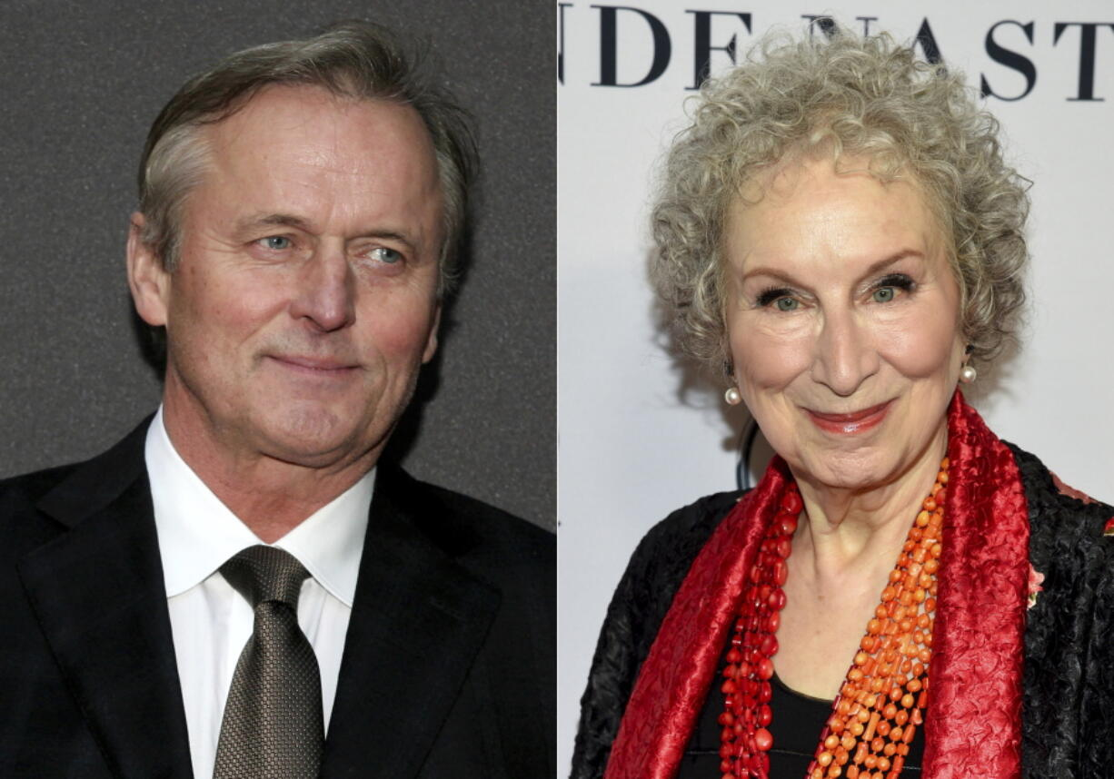 Author John Grisham, left, and author Margaret Atwood are among several authors participating in a novel about the pandemic.