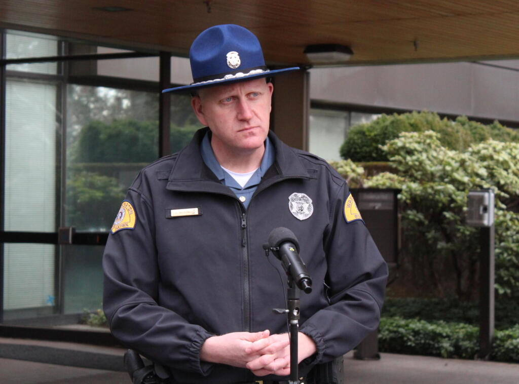 Washington State Patrol Trooper Will Finn provided an update Tuesday, at agency's headquarters in Vancouver, on an incident involving a 45-year-old Yacolt woman who jumped out of a Clark County sheriff's deputy's vehicle as it traveled southbound on Interstate 5 near Ridgefield. The woman, Sara Gottwig-Carr, is in critical condition at PeaceHealth Southwest Medical Center.