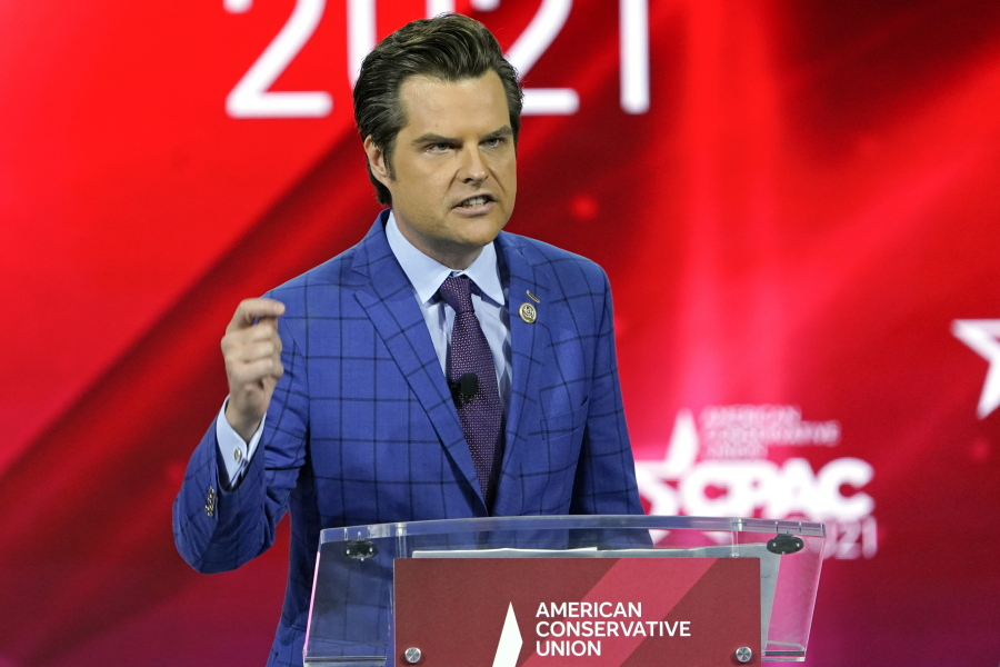 FILE - In this Feb. 26, 2021, file photo Rep. Matt Gaetz, R-Fla.,, speaks at the Conservative Political Action Conference (CPAC) in Orlando, Fla.