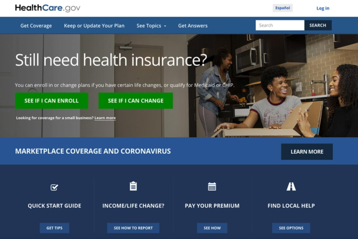 This screen grab from the website shows the main web page for the HealthCare.gov. More than 200,000 people signed up for coverage in the first two weeks after President Joe Biden re-opened HealthCare.gov as part of his coronavirus response, the government said Wednesday.