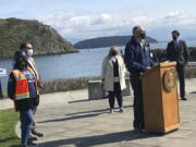 Washington Gov. Jay Inslee urges the passage of House Bill 1091 and Senate Bill 5126, which would address the increasing effects of climate change, Tuesday, March 30, 2021, at Seafarers' Memorial Park in Anacortes, Wash.