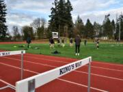 The King's Way Christian girls soccer team warms up prior to their 1A district soccer playoff match against Hoquiam on Monday, March 15, 2021 (Tim Martinez/The Columbian)