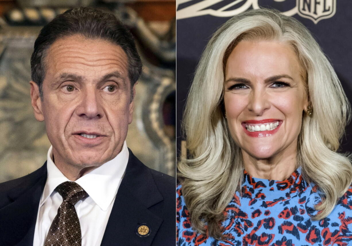 """New York Gov. Andrew M. Cuomo, Cuomo appears during a news conference about the COVID-19 vaccine at the State Capitol in Albany, N.Y., on Dec. 3, 2020, left, and Fox News' Janice Dean attends a screening of """"A Lifetime of Sundays"""" in New York on Sept. 18, 2019.  Dean has turned into one of New York Gov. Andrew Cuomo's fiercest critics after both of her in-laws died of the coronavirus last spring in elderly care facilities."""