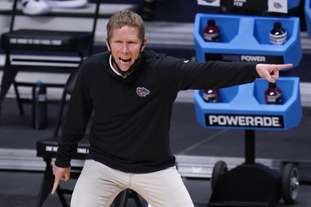 Gonzaga head coach Mark Few gestures against Creighton in the first half of a Sweet 16 game in the NCAA men's college basketball tournament at Hinkle Fieldhouse in Indianapolis, Sunday, March 28, 2021.