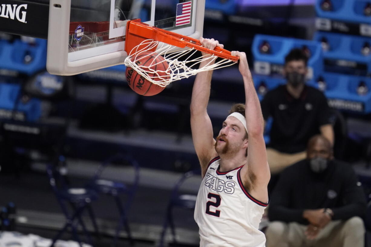 Gonzaga forward Drew Timme (2) dunks against Creighton in the second half of a Sweet 16 game in the NCAA men's college basketball tournament at Hinkle Fieldhouse in Indianapolis, Sunday, March 28, 2021.