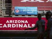 """The NFL will nearly double its media revenue to more than $10 billion a season with new rights agreements announced Thursday, March 18, 2021 including a deal with Amazon Prime Video that gives the streaming service exclusive rights to """"Thursday Night Football"""" beginning in 2022."""
