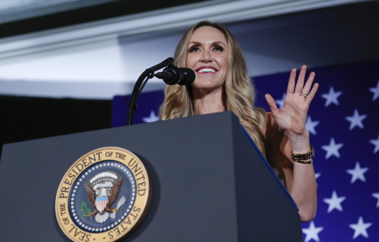 FILE - In this Aug. 31, 2018 file photo, Lara Trump, President Donald Trump's daughter-in-law, speaks at a Republican fundraiser at the Carmel Country Club in in Charlotte, N.C.  The former president's daughter-in-law, Lara Trump, is eyeing the North Carolina Senate seat being vacated by Republican Richard Burr. While many in the state are skeptical she will move forward, an entrance into the race would set up a crucial test of whether Donald Trump's popularity among Republicans, which remains massive more than a month after leaving office, can translate to others.