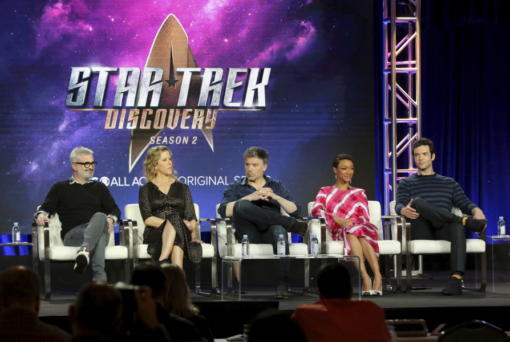 """FILE - In this Jan. 30, 2019 file photo, Alex Kurtzman, from left, Heather Kadin, Anson Mount, Sonequa Martin-Green and Ethan Peck participate in the """"Star Trek: Discovery"""" show panel during the CBS All Access presentation at the Television Critics Association Winter Press Tour at The Langham Huntington in Pasadena, Calif. Paramount+ debuts Thursday, March 4, 2021 as the latest -- and last -- streaming option from a major media company, this time from ViacomCBS."""