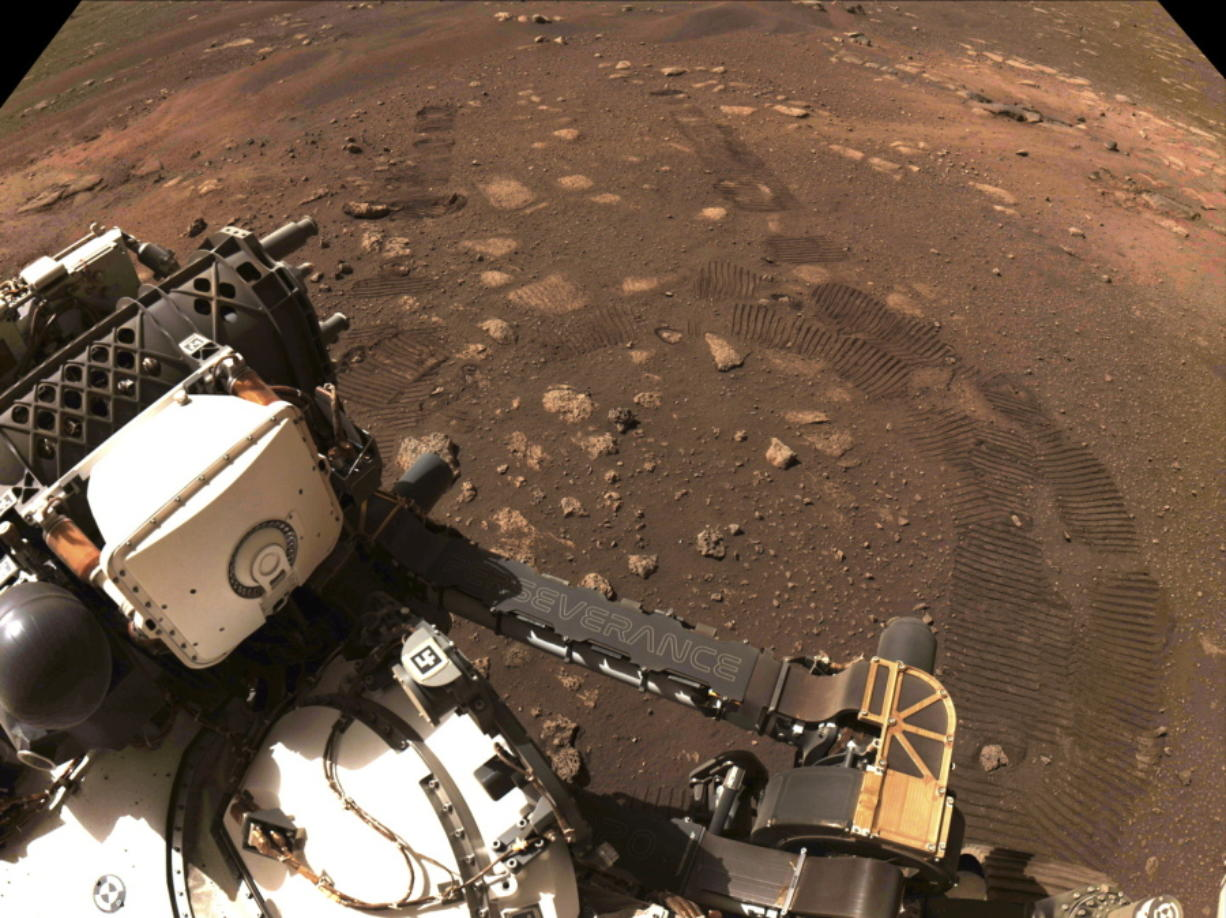 The Perseverance rover is seen during its first drive on Mars on March 4. Perseverance landed Feb. 18.