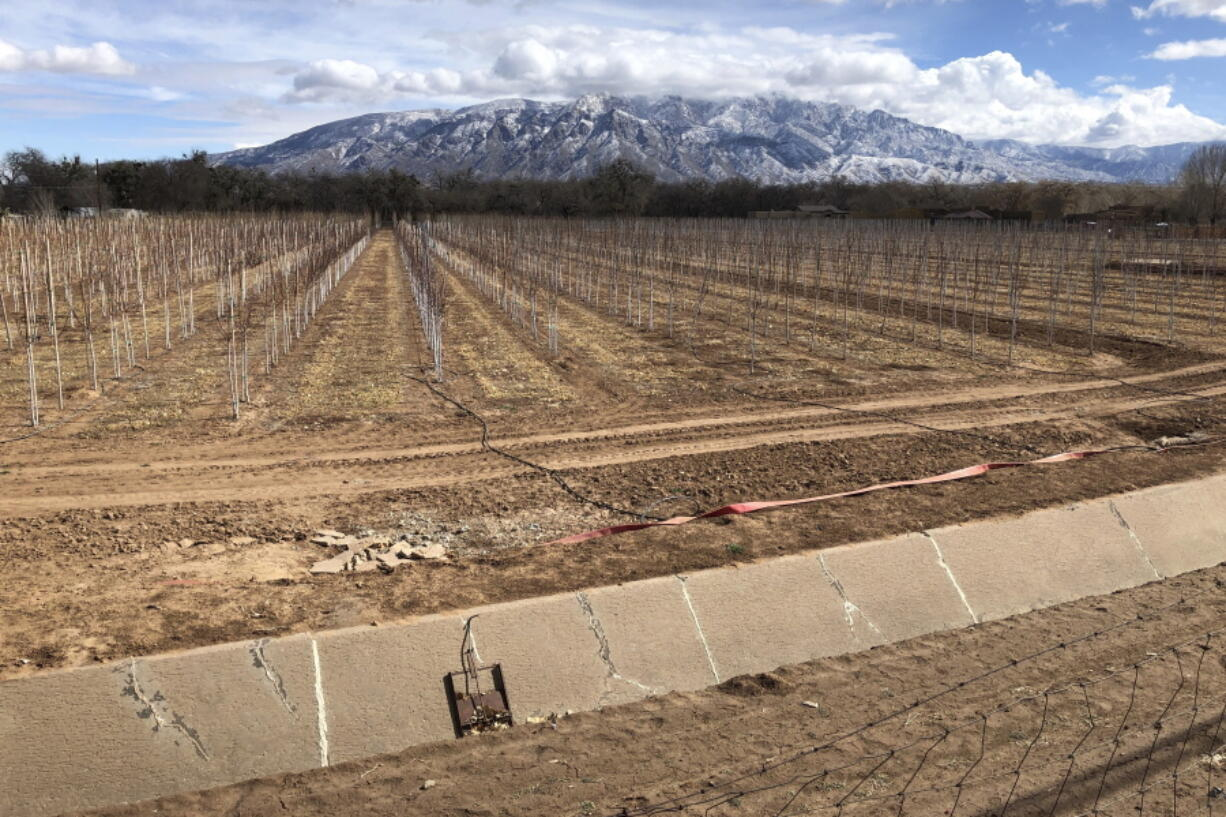 An empty irrigation canal is seen Feb. 17 at a tree farm in Corrales, N.M., with the Sandia Mountains in the background. Much of the West is mired in drought, with New Mexico among the hardest-hit states.