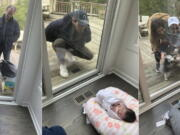 This combination of photos shows Suzy and Ricky Stone visiting with their granddaughter Gigi Guyuron through a window of their daughter Jen Guyuron's home on April 18 in Cleveland, Ohio, left, Guyuron's brother Bryan Stone visiting on March 21 center, and Jen Charet and Jason Charet visiting with Gigi on April 23.