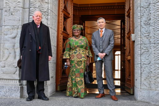 New Director-General of the World Trade Organisation Ngozi Okonjo-Iweala, center, poses between WTO Deputy Directors-General Alan Wolff, left, and Karl Brauner upon her arrival at the WTO headquarters to takes office in Geneva, Switzerland, Monday, March 1, 2021. Nigeria's Ngozi Okonjo-Iweala takes the reins of the WTO amid hope she will infuse the beleaguered body with fresh momentum to address towering challenges and a pandemic-fuelled global economic crisis.