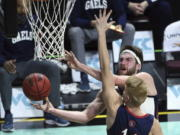 Gonzaga forward Drew Timme (2) lays up the ball against Saint Mary's the during the first half in West Coast Conference semifinals Monday in Las Vegas.