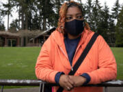 Michelle McClendon, a Community Resource Consultant at Simply United Together, photographed at Angle Lake Park in SeaTac, Wash., on March 24, 2020. (Matt M.