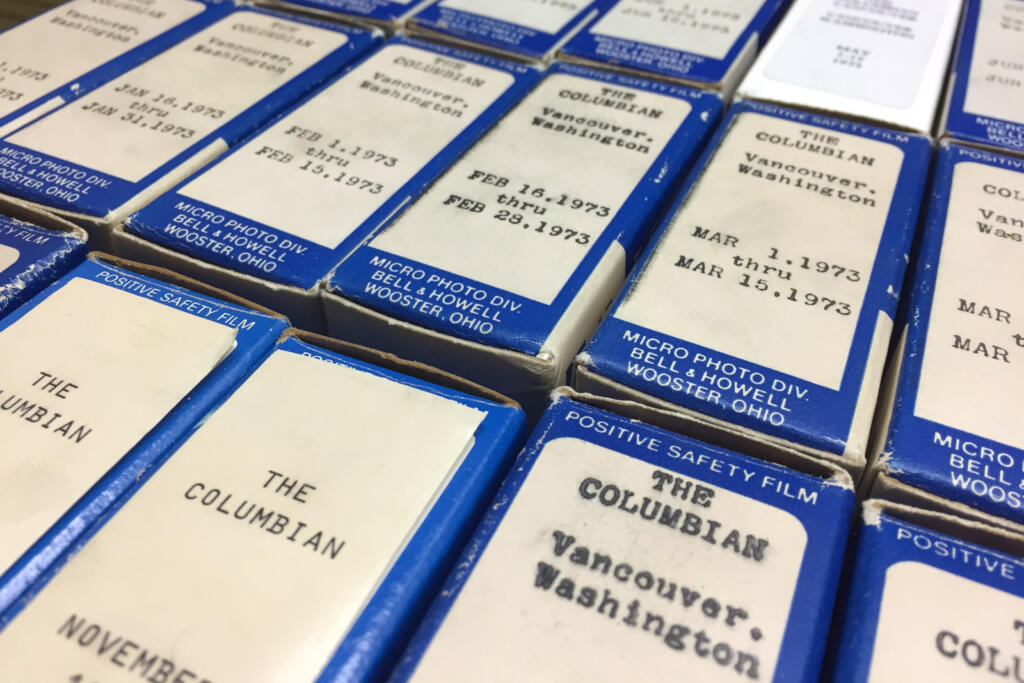 Decades of issues of The Columbian can be found on microfilm in the archives.