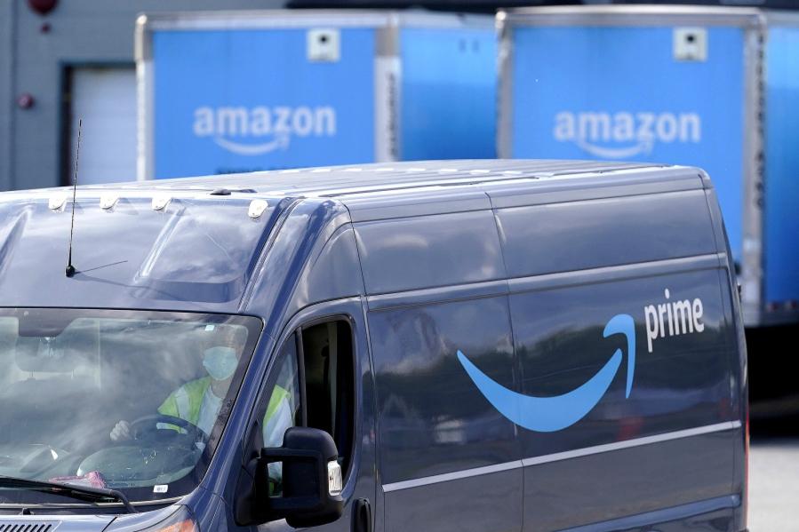 An Amazon delivery van.
