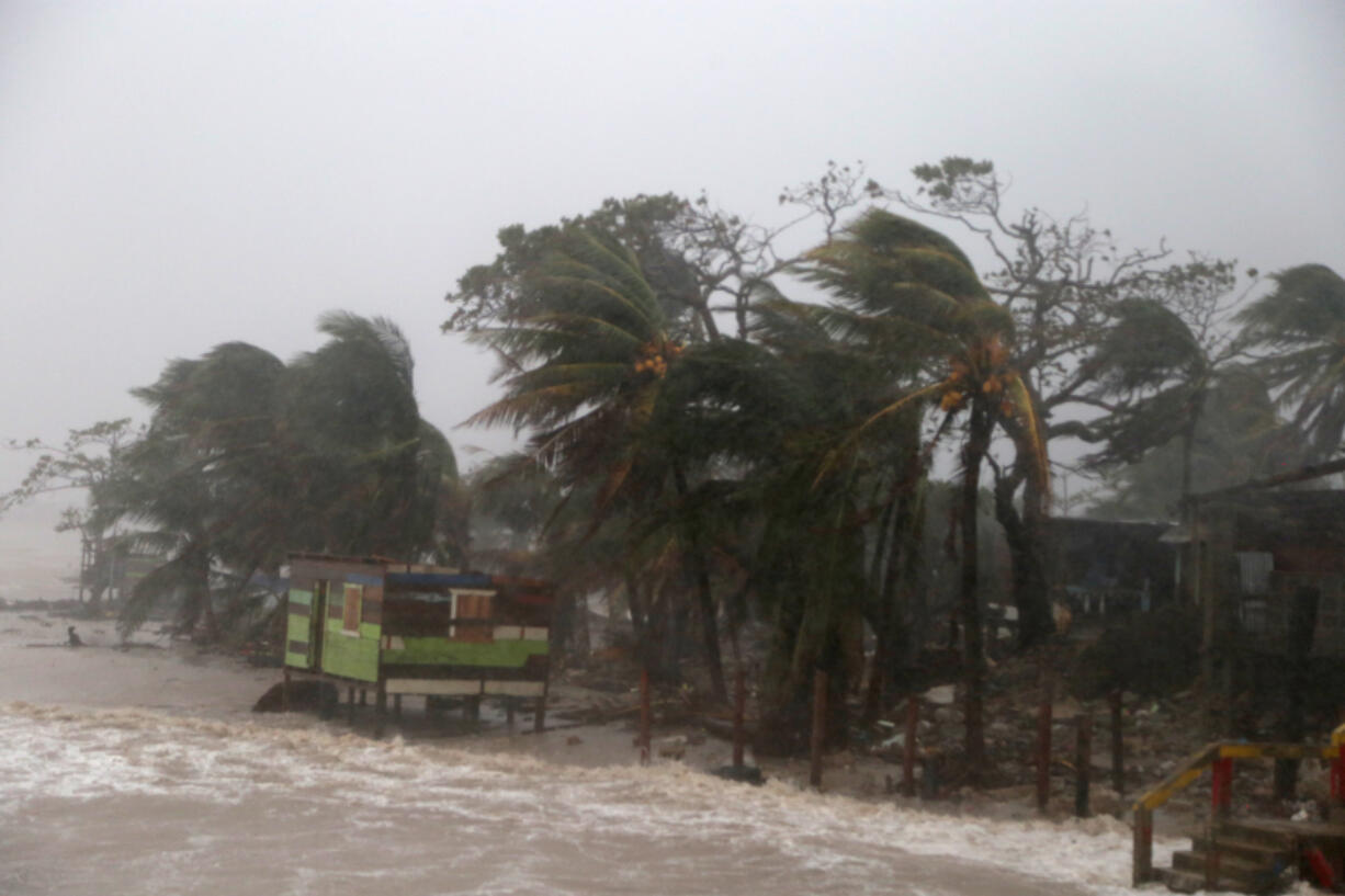 Palm trees are blown by strong winds as Nicaragua braces for Hurricane Iota on Nov. 16, in Puerto Cabezas.