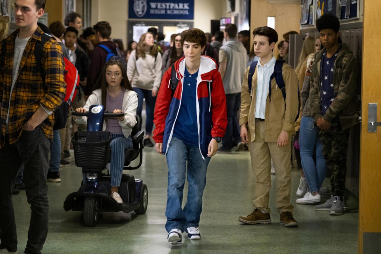 "Alexa Loo, from left, Nasim Pedrad and Jake Ryan in ""Chad."" (Liane Hentscher/Warner Media)"