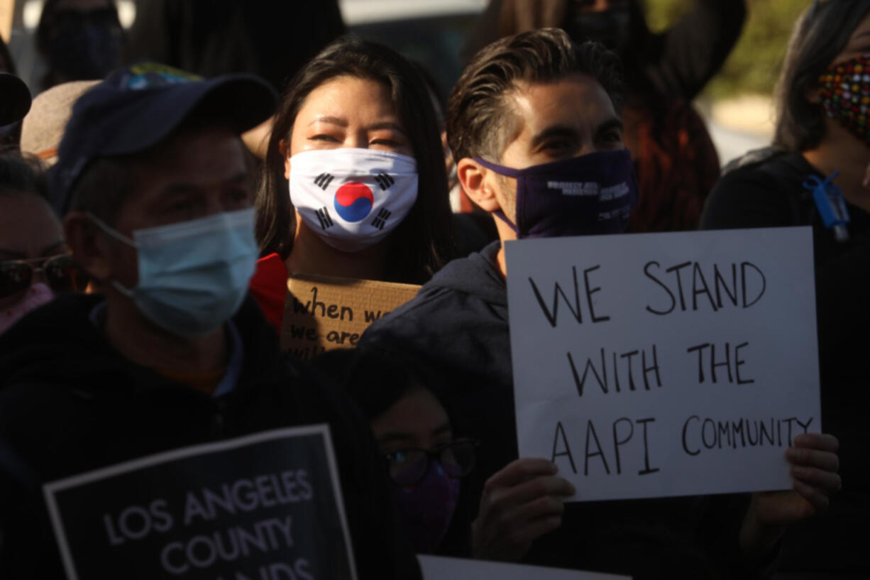 ALHAMBRA, CA - MARCH 26, 2021 - - Around 200 residents, students and Alhambra and San Gabriel city leaders participate in a rally to denounce anti-Asian sentiment, racism and hate crimes that have been exacerbated by the COVID-19 pandemic in Alhambra on March 26, 2021.