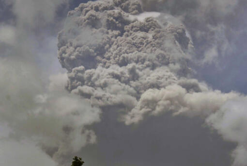 Plumes of ash rise Friday from the La Soufriere volcano as it erupts on the eastern Caribbean island of St.