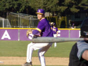Columbia River senior Nick Alder struck out 11 in a two-hit shutout as River beat Woodland 13-0 in five innings on April 12, 2021 (Tim Martinez/The Columbian)