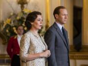 "Olivia Colman as Queen Elizabeth II and Tobias Menzies as Prince Philip in the third season of Netflix's ""The Crown."" (Sophie Mutevelian/Netflix/TNS)"