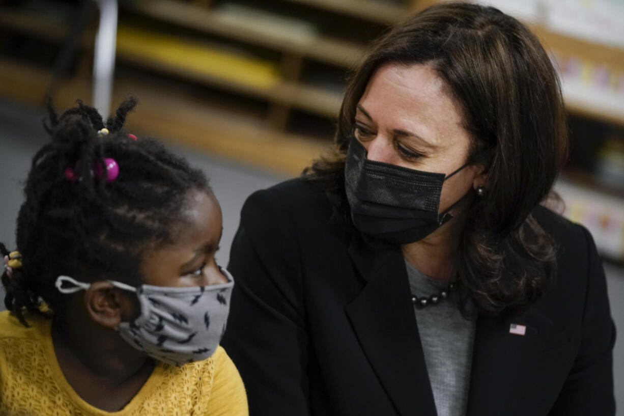 U.S. Vice President Kamala Harris visits with students in a pre-school classroom at West Haven Child Development Center on March 26, 2021 in West Haven, Connecticut.