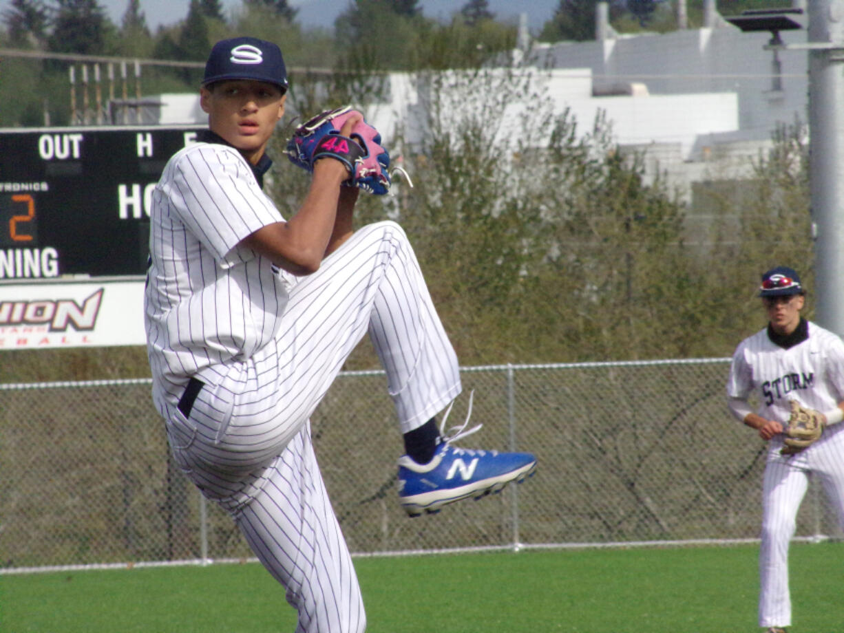 Skyview pitcher Caden Vire delivers a pitch in the Storm'is 5-2 win over Mountain View in the 4A/3A Greater St.