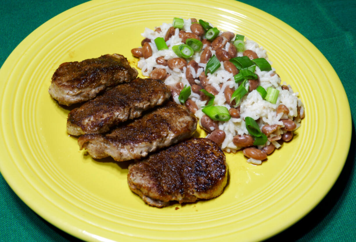 Jerk Pork with Coconut Rice and Beans.