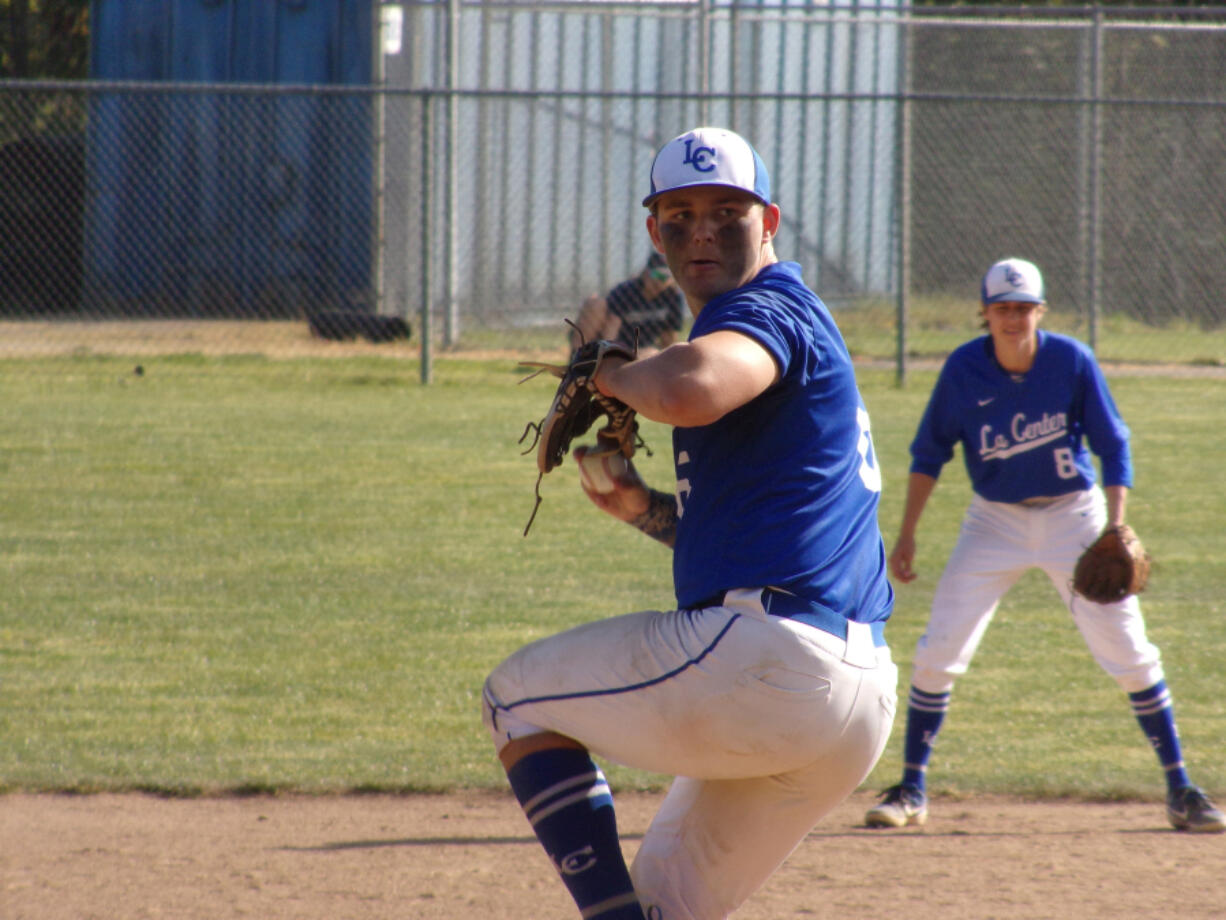 Tom Lambert pitched a complete-game in leading La Center to a 5-2 win over King's Way Christian in the first game of a doubleheader on Tuesday in La Center.