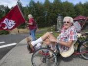 Former senator Al Bauer at an intersection where activities to welcome students to the first day of classes at Washington State University Vancouver on Aug. 24, 2015.