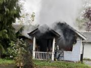A fire that is believed to have started in a kitchen destroyed a single-story house on Northwest Hill Street in Camas on Saturday evening.