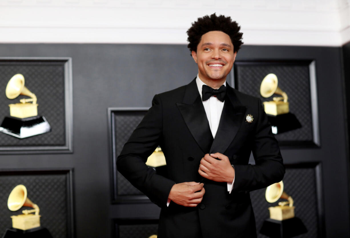 Host Trevor Noah on the red carpet at the 63rd Annual Grammy Awards at the Los Angeles Convention Center, in downtown Los Angeles, on March 14, 2021. (Jay L.