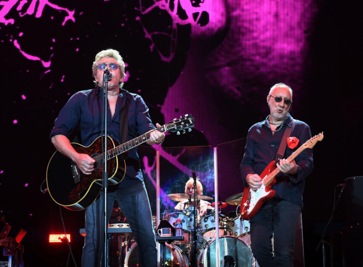 Roger Daltrey, left, and Pete Townshend of The Who play at the Desert Trip music festival at Indio, California, on Oct. 9, 2016.