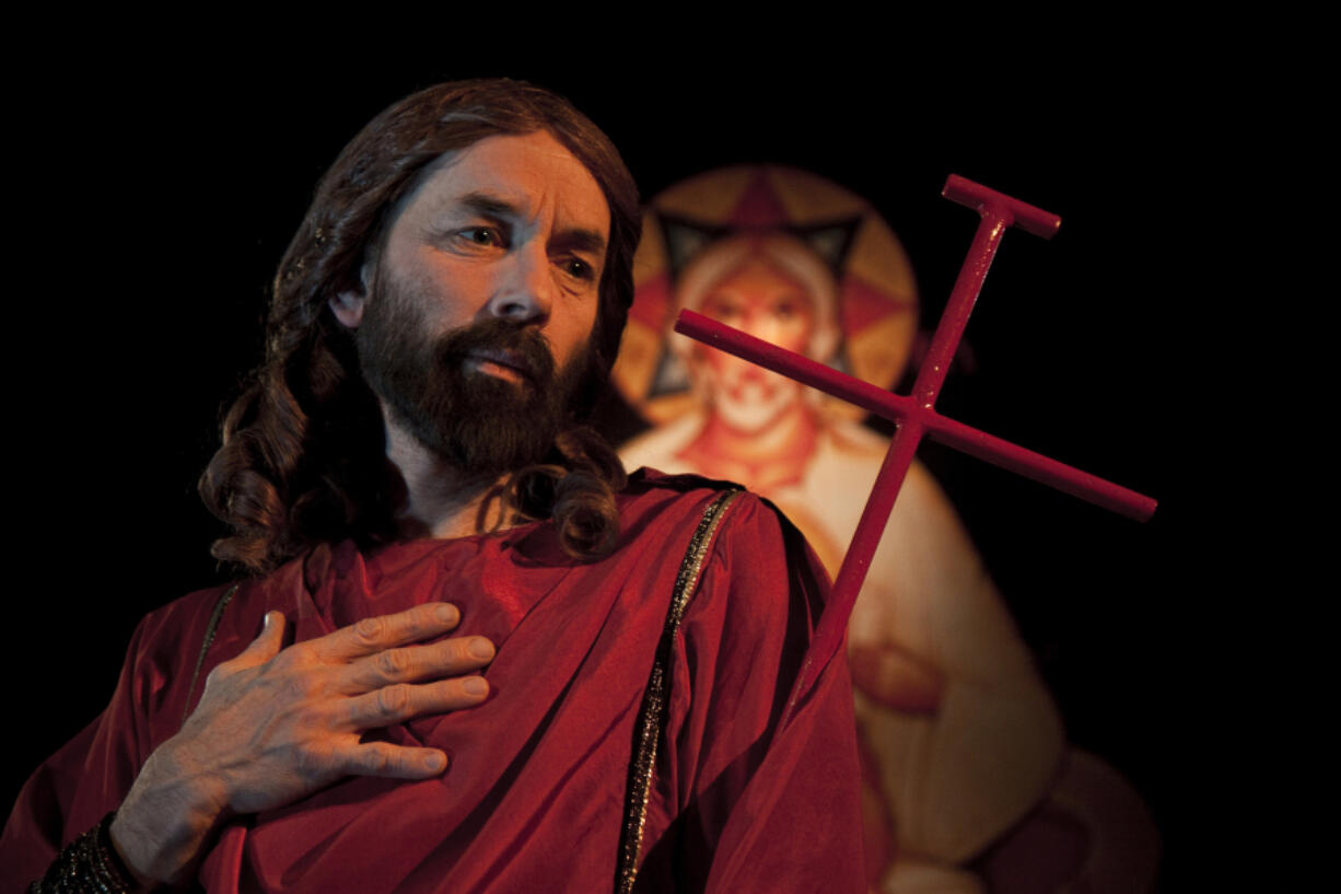 """""""It's a very intimate experience,"""" said Leonardo Defilippis, here portraying Jesus, of the direct eye contact he usually has with small, spellbound audiences. (Contributed by St."""