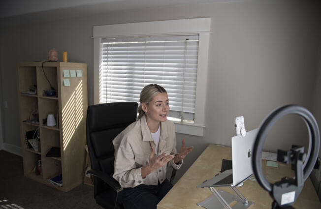 Kathrine Kofoed's TikTok videos about overcoming emotional eating have gone viral. She makes most of her videos in her Camas home.