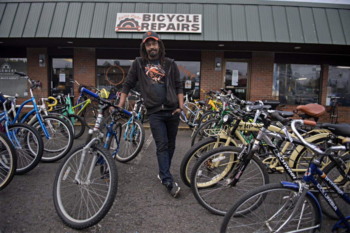 "Edward Eley, 45, opened Rollin Right Repairs in 2017. The store has been filled wall-to-wall with bikes during the pandemic. ""I have no idea,"" he said when asked how many bikes were in the shop. ""Enough so I have a walkway that I can get in and out. With the year I've had, that's fine with me because that's manageable."