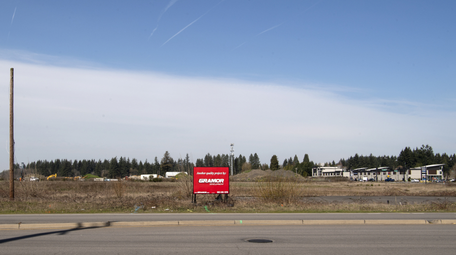 An empty lot at the northwest corner of the intersection of Southeast First Street and 192nd Avenue. The site sits at the southeast corner of the massive Section 30 area, a former mine which is now home to multiple major planned developments, including a new corporate campus from HP.