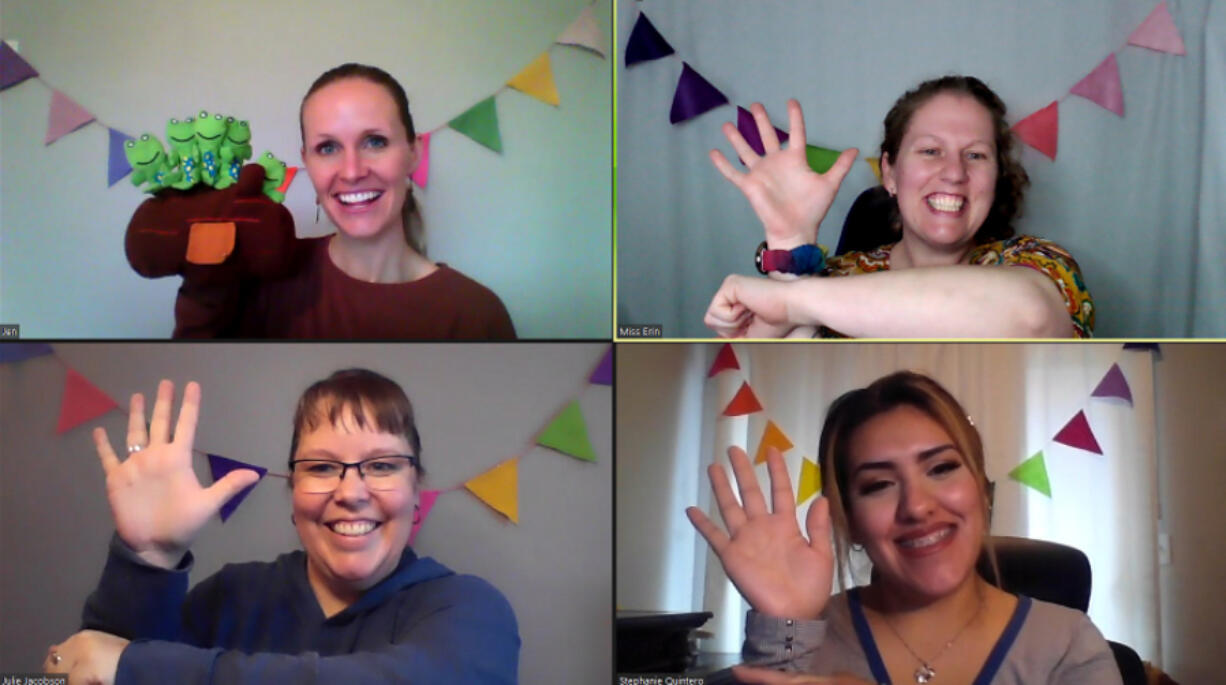 ESD 112's 1-2-3 Grow &; Learn program, a parent-child educational playgroup, has four instructors - two facilitators and two assistants - who have all gotten accustomed to doing virtual daily lessons for kids ages 0-5 since COVID-19 made them adapt lessons.