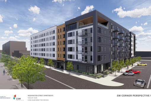 Conceptual renderings show the proposed Washington Street Apartments project in downtown Vancouver from Hurley Development. The apartment complex is planned to rise on a lot between Columbia, Washington, West Fifth and West Fourth streets.